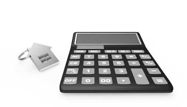 Icône de la calculatrice et de la maison en argent
