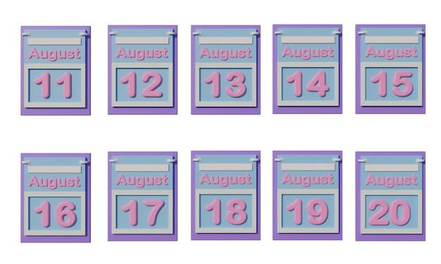 Icône de calendrier 3d en août avec la date du 1 au 10