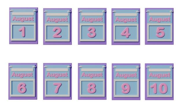 Icône de calendrier 3d en août avec la date du 11 au 20