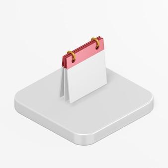 Icône de calendrier propre dans l'élément d'interface de rendu 3d ui ux