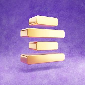 Icône de centre d'alignement d'or isolé sur velours violet