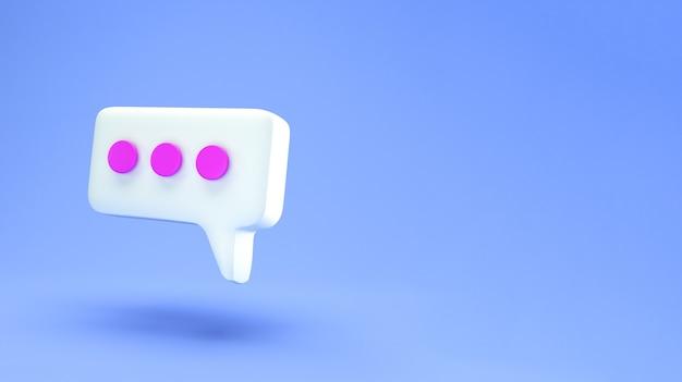 Icône de chat blanc discours bulle isolé sur fond bleu. concept créatif de message avec espace de copie pour le texte. symbole de communication ou de discussion de commentaire. concept de minimalisme. rendu 3d illustration 3d