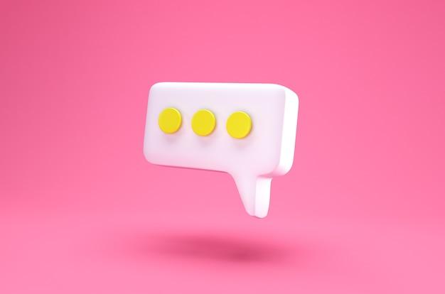 Icône de chat blanc discours bulle isolé sur fond rose. concept créatif de message avec espace de copie pour le texte. symbole de communication ou de discussion de commentaire. concept de minimalisme. rendu 3d illustration 3d