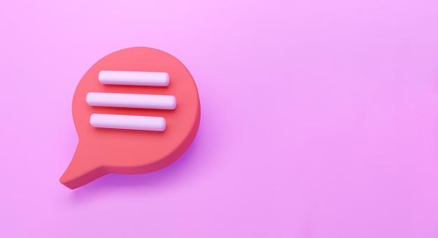 Icône de chat de bulle de discours rouge 3d isolé sur fond rose. concept créatif de message avec espace de copie pour le texte. symbole de chat de communication ou de commentaire. notion de minimalisme. rendu d'illustration 3d