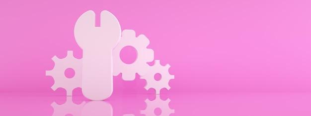 Icône de clé et d'engrenage sur fond rose, concept de réparation, rendu 3d, maquette panoramique