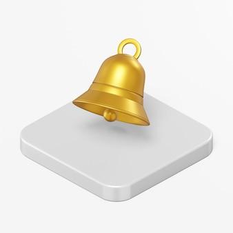 Icône de cloche dorée dans l'élément d'interface de rendu 3d ui ux
