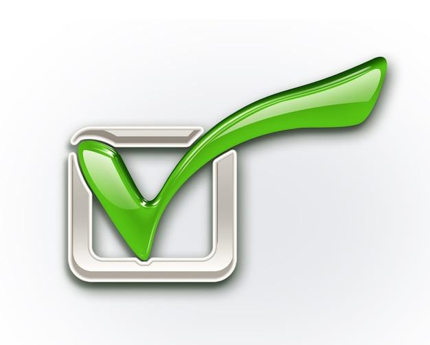 Icône de coche verte sur fond blanc