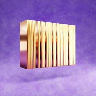 Icône de code à barres isolé sur velours violet