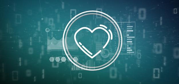 Icône de coeur entourée de données