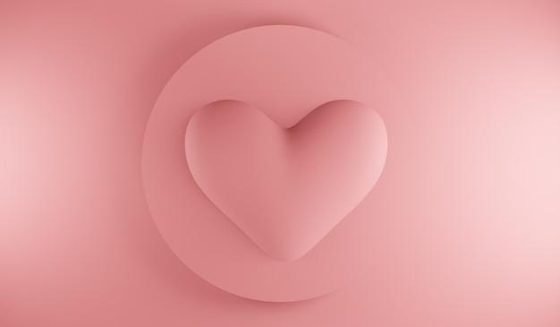 Icône de coeur minimal. composition de formes dégradées.