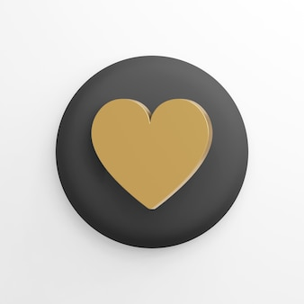 Icône de coeur plat doré, bouton rond noir. rendu 3d.