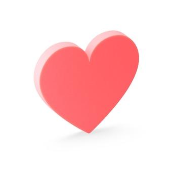 Icône de coeur plat rouge. rendu 3d.
