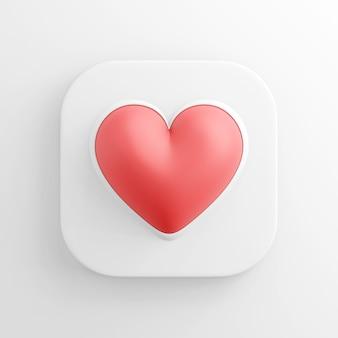 Icône de coeur réaliste rouge, bouton blanc carré. rendu 3d.