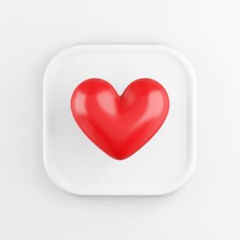 Icône de coeur réaliste rouge, bouton carré blanc. rendu 3d.