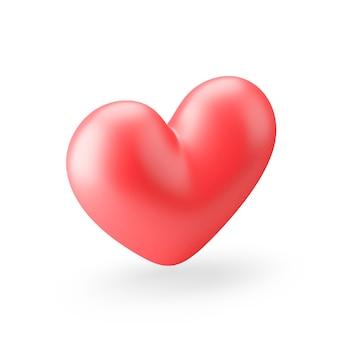 Icône de coeur réaliste rouge. rendu 3d.