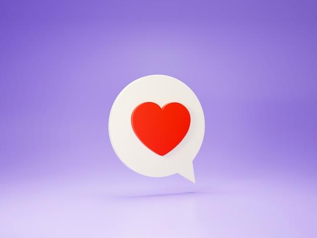 Icône de coeur de rendu 3d.