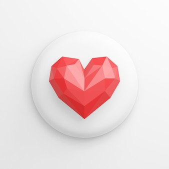 Icône de coeur rouge low-poly, bouton rond blanc. rendu 3d.