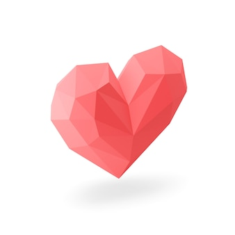 Icône de coeur rouge low-poly. rendu 3d.