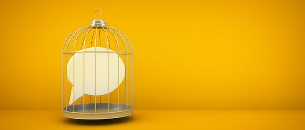 Icône de commentaire sur un rendu 3d de concept de cage