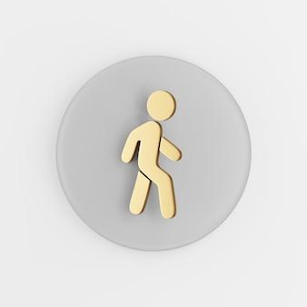 Icône de contour plat homme marche or. rendu 3d bouton clé gris rond, élément d'interface ui ux.