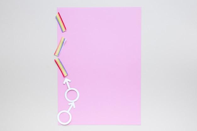Icône de couple gay avec du papier vierge