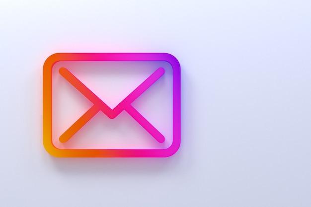 Icône de courrier design minimal logo rendu 3d