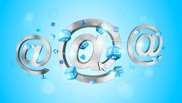 Icône de courrier électronique de rendu 3d connectée les unes aux autres