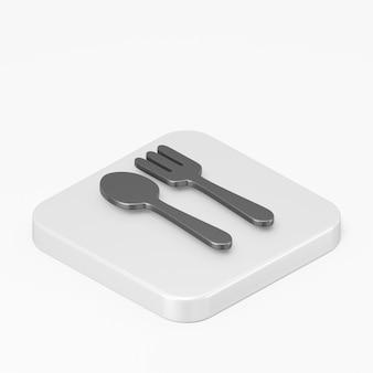 Icône de cuillère et fourchette plate noire dans l'élément ux d'interface de rendu 3d
