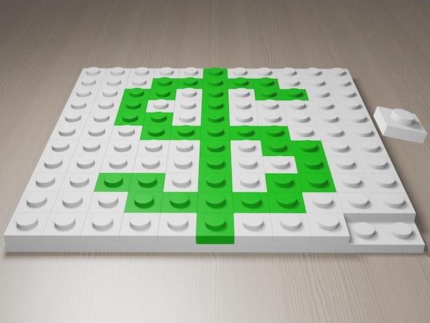 Icône dollar faite de blocs symbole vert du dollar usd à partir de blocs de construction rendu 3d