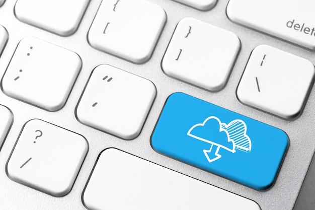 Icône de données en ligne sur le clavier de l'ordinateur