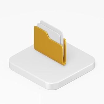 Icône de dossier de document jaune dans l'élément de l'interface de rendu 3d ui ux