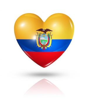 Icône de drapeau coeur amour equateur