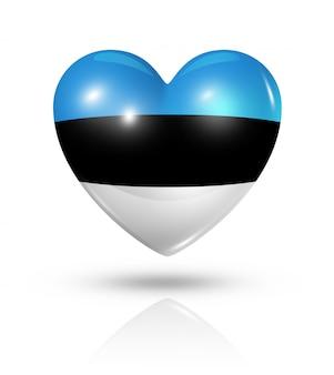Icône de drapeau coeur estonie amour