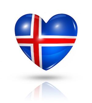 Icône de drapeau coeur islande amour