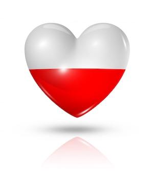 Icône de drapeau coeur pologne amour