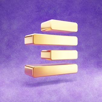 Icône de droite d'alignement d'or isolé sur velours violet