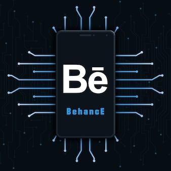 Icône du logo behance sur l'écran du téléphone sur fond de technologie 3d