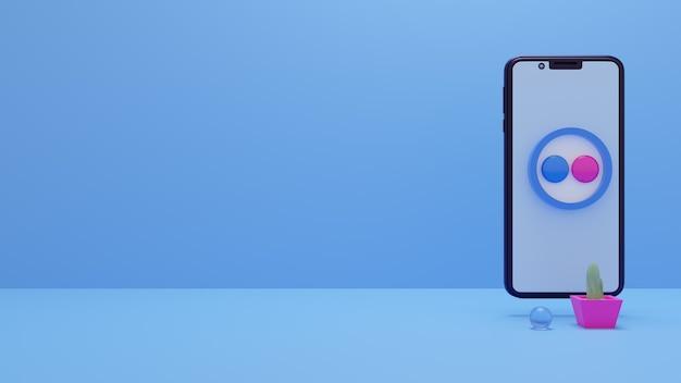 Icône du logo flickr sur le smartphone rendu 3d des publicités sur les réseaux sociaux