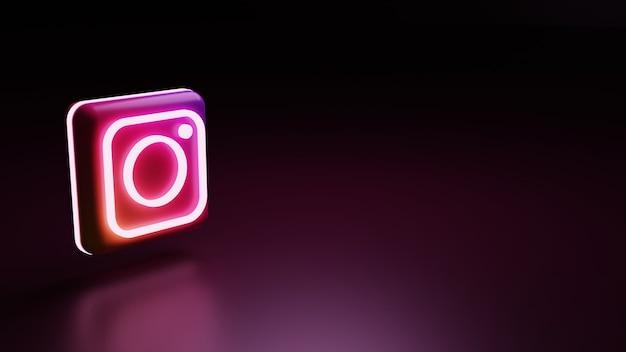 Icône du logo instagram 3d avec lumières image de rendu de haute qualité