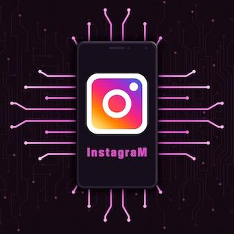 Icône du logo instagram sur l'écran du téléphone sur fond de technologie 3d