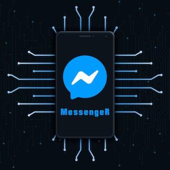Icône du logo messenger sur l'écran du téléphone sur fond de technologie 3d