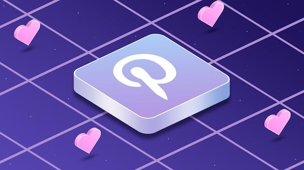 Icône du logo pinterest avec des coeurs autour de 3d
