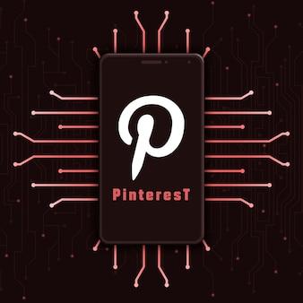 Icône du logo pinterest sur l'écran du téléphone sur fond de technologie 3d
