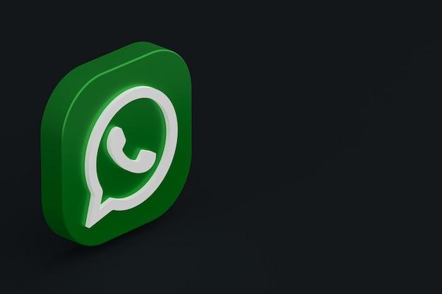Icône du logo vert application whatsapp rendu 3d sur fond noir