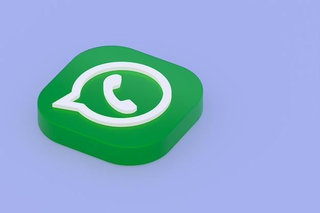 Icône du logo vert application whatsapp rendu 3d sur fond violet