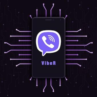 Icône du logo viber sur l'écran du téléphone sur fond de technologie 3d