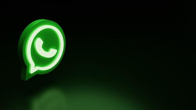 Icône du logo whatsapp 3d avec lumières image de rendu de haute qualité