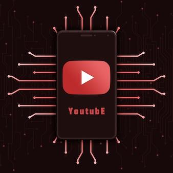 Icône du logo youtube sur l'écran du téléphone sur fond de technologie 3d