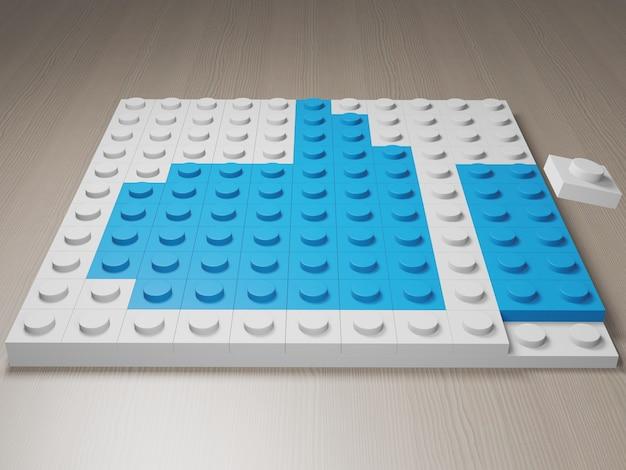 Icône du pouce vers le haut faite de blocs lego symbole bleu du pouce vers le haut des blocs de construction rendu 3d