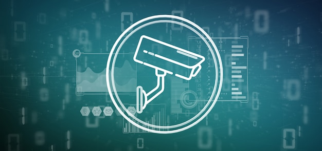Icône du système de caméra de sécurité et données statistiques - rendu 3d